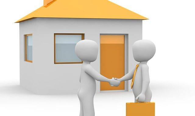 graphic of men shaking hands in front of a house