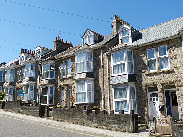Terraced houses lining a street