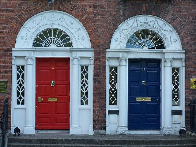 2 front doors, one red and one blue
