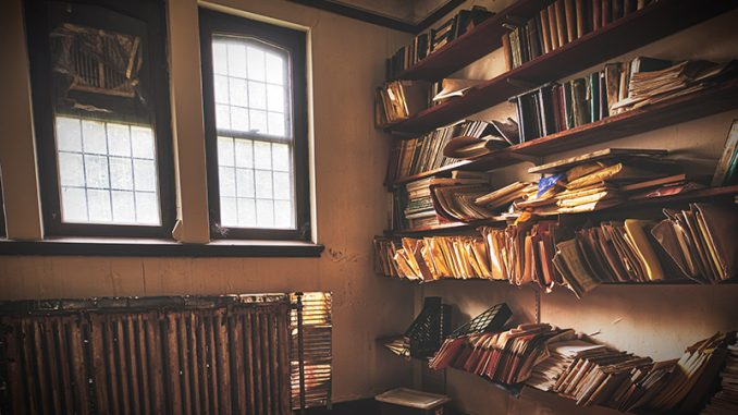 messy room with books