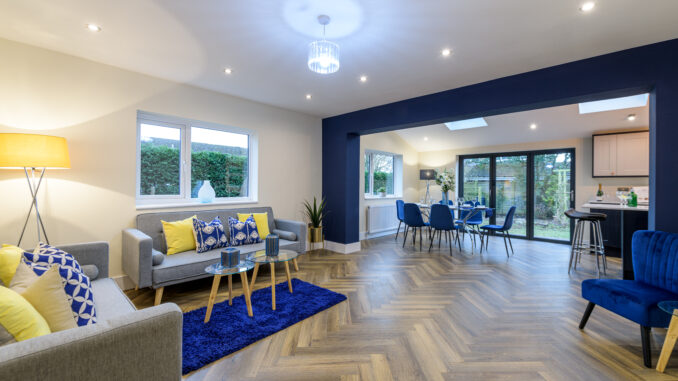 a bright kitchen dining area that has benefitted from property staging